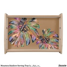 Monstera Rainbow Serving Tray Party Hats, Art Pieces, Pastel, Rainbow, Serving Trays, Watercolor, Create, Beige, Rain Bow