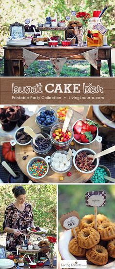A Beautiful Outdoor Fall Party. Decorate Your Own Mini Bundt Cake Bar Party. Whether you're throwing a backyard bash or decorating a dessert table, these party ideas and free party printables will impress your guests! See more at LivingLocurto.com
