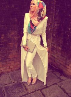 really nice combination between white dress and colored scarf