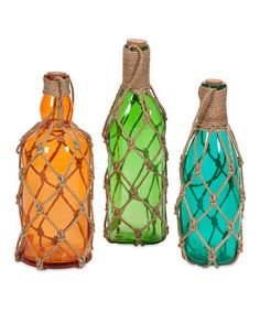 Look what I found on #zulily! Williams Jute Glass Bottle Set #zulilyfinds