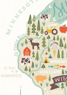 Michael Mullen's Map of Minnesota. Simplified down, the map could take on quite a basic form to show a rough overview of where places are.