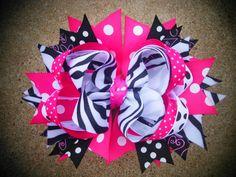 Girls Boutique Hairbow OTT Birthday Bow Zebra by divagirlboutique, $12.00