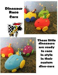 These little race cars using dinosaur easter eggs, some buttons for the wheel.  LynnDavisCakes.com