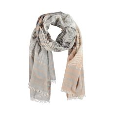 Woven Stripes Scarf with Bleached Feather Print - Birds on the Run