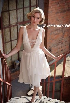 Simple wedding dress, Sexy Tea length wedding dress, with lace V neckline, V back, Cock tail dresses with layered bottom skirt