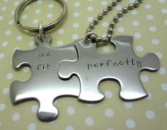 Puzzle Piece Couples Necklace Keychain Set - Hand Stamped Custom - His and Hers - We Fit Perfectly - Fiance BFF Boyfriend Husband on Etsy, $28.00