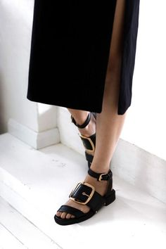 Fab sandals black leather with chunky gold buckle