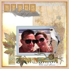 """Look how """"Birds of a Feather"""" by Beth (mystampin) combines both traditional and artsy scrapping to create an eye-catching page"""