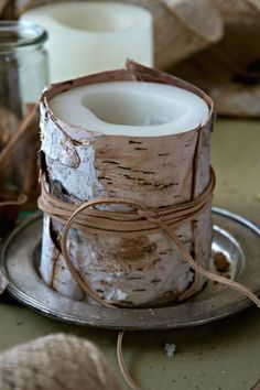 18 Classy Fall Decorating Projects • Great Ideas and Tutorials! including, from 'just a smidgen', this simple and natural birch bark candle with instructions.