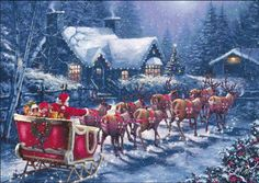 Santa with sleigh in snow