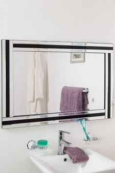 This Black U0026 Silver Triple Bevelled Edge Venetian Bathroom Mirror With  Black Mirrored Glass Design Will
