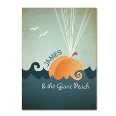 This gallery-wrapped art piece features a 'James and the Giant Peach' movie poster. 'James and the Giant Peach' by Megan Romo Ready to Hang Canvas Wall Art Canvas Wall Art, Canvas Prints, Art Prints, Quote Canvas, Quote Wall, Painting Canvas, James And Giant Peach, Peach Walls, Thing 1