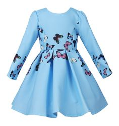 JerrisApparel Long Sleeves Butterfly Print Girl Princess Party Dress (8, Blue). Beautiful princess dress with vivid butterfly print, knee length, elegant and cute. Long sleeve design will be good to wear in the cool weather, especially when you and your girls have party in the evening. The fabric of this elegant dress is comfortable and soft that it is good for your little girl to wear it. It is easy to put the dress on beacuse of the zip design in the back. It is better to handwash.