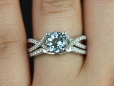 Rosados Box Emma White Gold Vintage Inspired Aquamarine and Diamond Pave Wedding Set. Like band not diamond