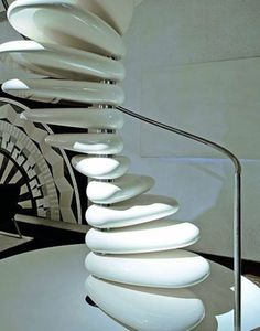 Like a stack of giant soft-mints: polished concrete staircase (meant to resemble river stones) by Robert Semprini. Concrete Staircase, Floating Staircase, Grand Staircase, Stone Stairs, White Staircase, Staircase Railings, Spiral Staircases, Amazing Architecture, Interior Architecture