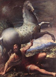 The Conversion of St. Paul - Parmigianino.  1527-28.  Oil on canvas.  177.5 x 128.5 cm.  Kunsthistorisches Museum, Vienna, Austria.