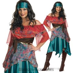 C407 Ladies Bohemian Fortune Teller Circus Gypsy Fancy Dress Halloween Costume in Clothing, Shoes, Accessories, Costumes, Women's Costumes | eBay