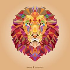 Vector triangle lion illustration by Freepik, via Behance