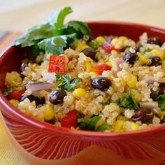 Mexican Quinoa Salad: Fresh vegetables and a tangy lime cilantro dressing complement the savory quinoa in this cold salad.
