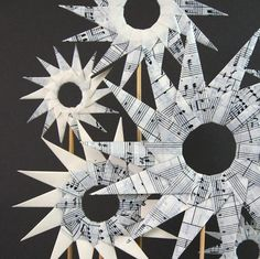 Paper Garden Origami Flower Sculpture Black and White by bookBW