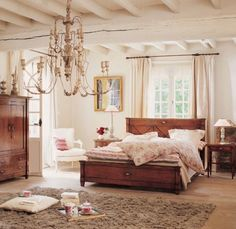 Vintage French Country Bedroom Cherry Furniture Set With Chandelier