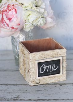 Rustic Birch Bark Wedding Decor Centerpiece Basket