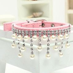 2016 Bling Crystal Pearl Cats Necklace Pet Collars for Dog Clothes Jewelry Dogs Accessories Puppy Product Red Pink Black S M L Type: Dogs/Cat Collar Type: Basi Bling Dog Collars, Rhinestone Dog Collar, Puppy Collars, Cat Collars, Handmade Dog Collars, Designer Dog Clothes, Cat Necklace, Pearl Necklace, Dog Pattern