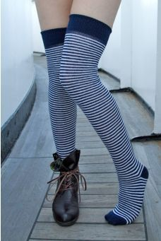ed11f51903e3 Extraordinary Marine Stripes White Knee High Socks