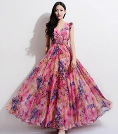 Bohemian Boho Chic Pink Floral Print A-line Dress Beach Wedding Bridesmaid Full Pleated Skirt Casual Holiday Fashion Ball Gown