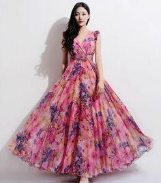 Bohemian Boho Chic Pink Floral Print A-line Dress Beach Wedding Bridesmaid Full Pleated Skirt Casual Holiday Fashion Ball Gown