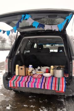 winter tailgate for sledding birthday party!