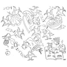 AB7280 Singing Bluebirds Day of the Week Vintage Embroidery