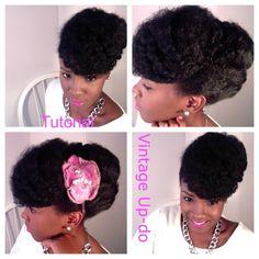 Vintage updo on natural hair. @Jessica Garnett pretty wedding