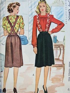 1940s Cute Two Pc  Dress Pattern Suspender Dirndl Skirt and Button Back Square Neckline Blouse  McCall 4976 Vintage Sewing Pattern Bust 34