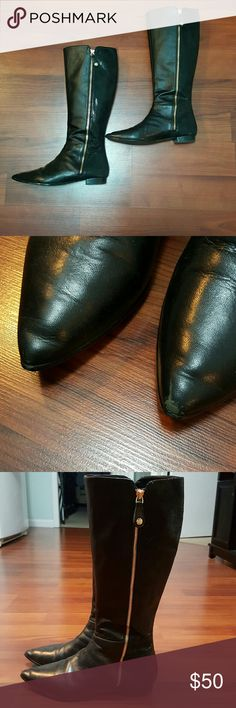 J. Renee Riding Boots Pointed toe Size 9 Slight scuff mark on the tip (picture above)  A full length side zipper makes for an easy on and off. Smooth leather and textile lining. Lightly padded footbed for added support. Man-made outsole. Imported. J. Renee Shoes