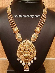 Antique Gold Haram with Lakshmi Pendant