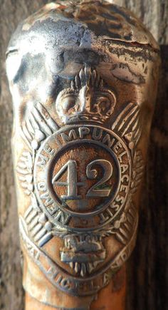 BLACK WATCH 42ND ROYAL HIGHLANDERS COMMANDERS 1868 - 1901 WALKING STICK