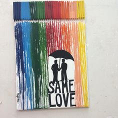 """""""Same Love"""" by @Magenta. Crayon technique on canvas. A client asked me a crayon art canvas, and I wanted to do something different, and to show a concept on it. Rainbow colors represent the diversity flag, so we though that represent a gay coupple would be nice. It was very fun to do it."""