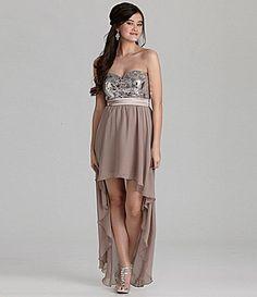 As U Wish Strapless Metallic HiLow Dress #Dillards