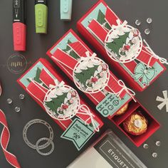 Ferrero Rocher, Christmas Deco, Christmas Crafts, Gift Card Presentation, Scrapbook Box, Punch Board, Santas Workshop, Treat Holder, Stamping Up