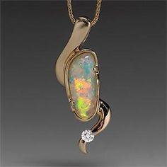 Estate Natural Crystal Opal & Diamond Pendant Necklace Solid 14K Gold - EraGem