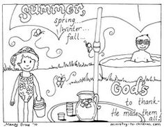 God Made Summer Coloring Page Printable for use with Ecclesiastes 3:1:  There is a time for everything, and a season for every activity under the heavens.  (NIV)