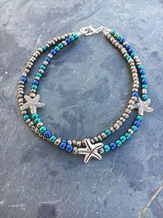 Hoti Hemp Handmade Black Turquoise Anklet Metal Studs Spikes Blue Ankle Bracelet Colours Are Striking Jewelry & Watches