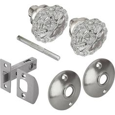 2 in. Satin Nickel Victorian Glass Knob Passage Set