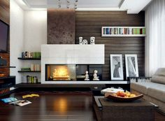 Voluptuous Living Room Design Inspiration Feat Endearing Dark Coffee Table On Polished Wooden Laminating Floor Complete Idyllic Modern Fireplace Design Ideas. Attractive Modern Fireplace Designs For A Warm Atmosphere At Home. Sheirma Home Decor Room Interior Design, Living Room Interior, Living Room Decor, Living Rooms, Modern Interior, Interior Walls, Living Spaces, Living Room Modern, Living Room Designs