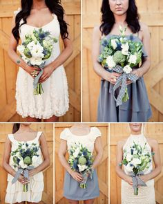 white, navy blue and green bouquets. I love how loose these are. And colours. They are rustic chic.