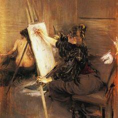 La pittrice Ruth Sterling nel suo atelier