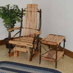 A & L Furniture Hickory 2 Piece Patio Glider and End Table Set - ALF444