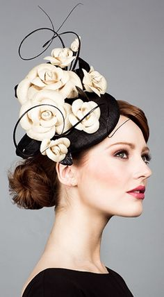 Rachel Trevor Morgan, S/S 2014. Straw pillbox with hand tooled paribuntal camellias and quills. #passion4hats