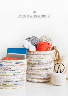 DIY Rag Rug Storage Baskets by Sugar & Cloth, an award winning DIY, home decor, . Handmade Home Decor, Cheap Home Decor, Diy Home Decor, Decor Crafts, Etsy Crafts, Diy Storage, Storage Baskets, Do It Yourself Decoration, Diy Rangement